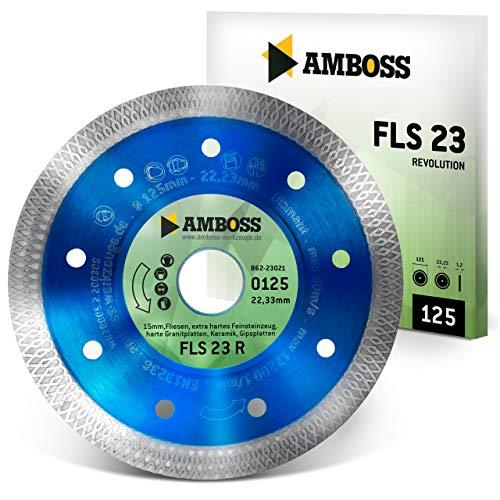 Amboss FLS 23R - extra dünne Diamant-Trennscheibe (1,2 mm) - Fliesen/extra hartes Feinsteinzeug/harte Granite/Keramik - Segmenthöhe: 10 mm (Ø 125 mm x 22,2 mm x 10mm Diamantbelag)
