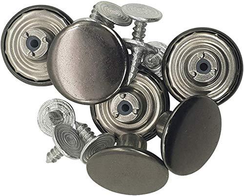 WedDecor Jeans Knopen Hamer Op Messing Tack Bevestigingen voor Vervanging, DIY Denim Jeans, Jassen, Shirts, Rokken, Broek, Handtassen, 17 mm, Gunmetal, 100 stuks