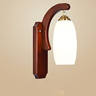MX Light Fixture Wall Lamp Chinese Solid Wood Hollow Carved LED Bedroom Bedside Single Headlights (Color : Rubber Wood)