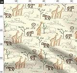 Safari, Zebra, Giraffe, Nilpferd, Löwe, Afrika Stoffe -