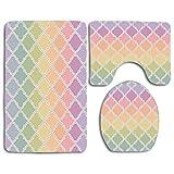 Azulejo marroquí Estilo Diseño geométrico Pastel suave Transitioned Rainbow Colors Set de alfombras de baño Alfombrilla de baño de 3 piezas Cubierta de tapa de inodoro Decoración de baño antideslizant