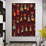 Imágenes de baile de mujeres étnicas tribales africanas, pintura en lienzo, pintura al óleo, póster, impresiones, arte de pared para sala de estar, decoración del hogar, 60x95cm, sin marco