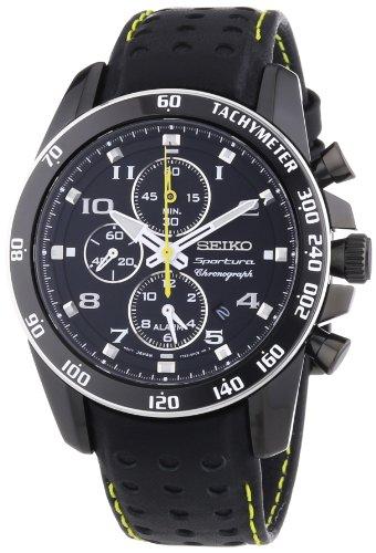 Seiko Herren Chronograph Quarz Uhr mit Leder Armband SNAE67P1
