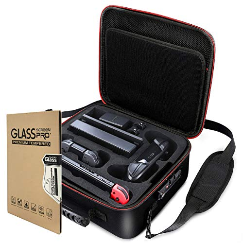 Locking Carry Case for Nintendo Switch Hardshell Deluxe Bag w/ Anti-Theft TSA Combination Lock - Include 1 Tempered Glass Screen Protector