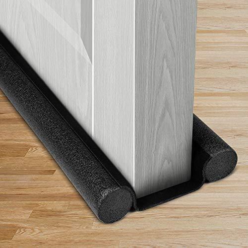 USUKUE Twin Door Draft Stopper, Double Side Under Door Bottom Seal Strip Noise Blocker, 43.5 Inch Length Suitable for 30, 32, 36, 38 and 42 Inch Interior Doors, Black