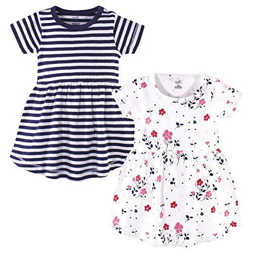Touched by Nature - Vestidos de algodón orgánico para niñas (bebés, niños, jóvenes), Floral Breeze Short Sleeve Pack, 12-18 Months (18M)