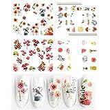 4 unids / set encantos flores hoja pegatinas de uñas acuarela arte de uñas calcomanías deslizadores manicura decoraciones láminas tatuaje TRSTZ1137-1180-1-STZ1177-1180