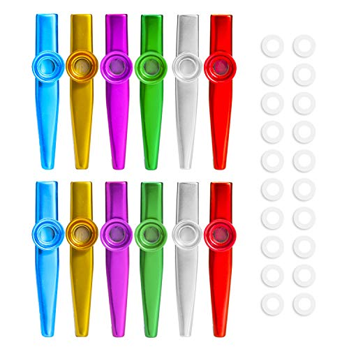 HIFOT Kazoo Metall, 12pcs Kazoo Musik Instrument Kazoos Set für Ukulele, Gitarre, Violine, Klaviertastatur mit 20 Flöten Membranen für Kinder - 6 Farbe