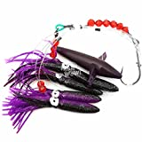 Fish WOW! Daisy Bird Chain Squid Lure Rig Teaser Fishing Trolling - Purple Black