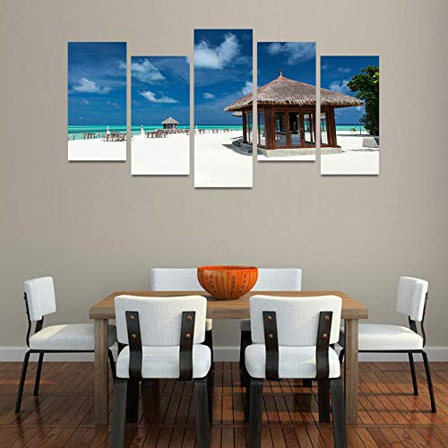 GVC 30X40X60X80 Modern Frames For Paintings Decor Canvas 5 Panel Maldives Beach Art Prints Wall Modular Picture Kids Room Wooden House Poster