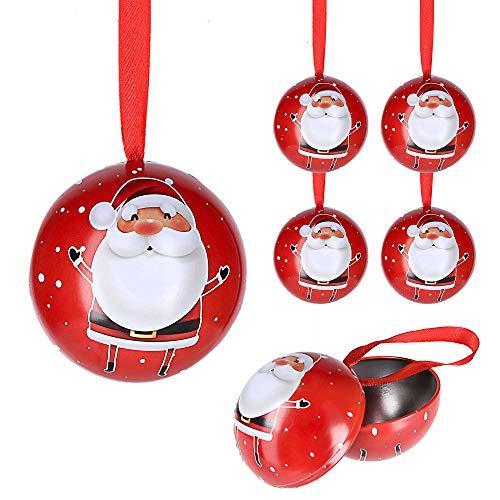 Cepewa Santa Weihnachtskugel 6er Set aus Metall zum Aufhängen und Öffnen Weihnachtsschmuck Christbaumkugel Weihnachtsmann (6 x Weihnachtskugel Santa)