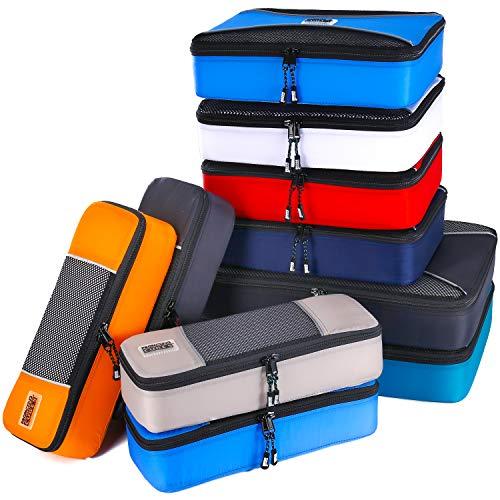 PRO Packing Cubes Packwürfel | 10-Stück Koffer Organizer Set für Organisiertes Packen Ihres Reise Gepäck | Federleichte Packtaschen für Rucksack, Koffer und Kleidertaschen - Gemischte Farben