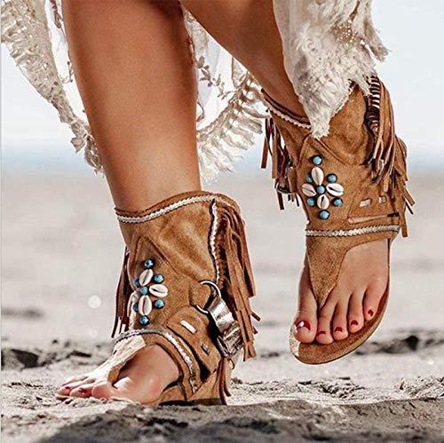 LJT Sandalias de Mujer, Damas, flecas, Flip-Flop, Sandalias de Cuero,