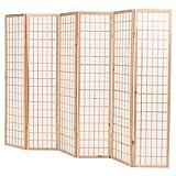 mewmewcat Plegable Biombos Diseño 6-Panel de Estilo Japonés Biombo Divisor Separador de Habitaciones Espacios Divisoria 240x170cm Natural y Blanco