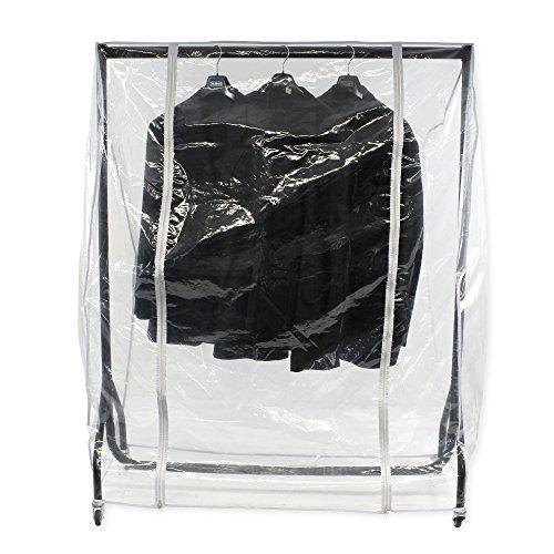 Abdeckhaube für Kleiderständer mit der Breite 120cm, Transparente Schutzhülle mit Zwei Reißverschlüssen