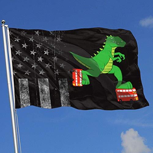 AOTADer Outdoor Flags Abgenutzte USA Flagge Dinosaurier Reiten Rollschuhe Flagge für Sportfan Fußball Basketball Baseball Hockey