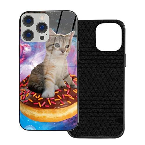 GKAOSPLSR Funda para teléfono compatible con iPhone 12 Series Anti-arañazos marco de vidrio TPU delgado a prueba de golpes funda de protección móvil para iPhone 12 Pro Max-6.7 2020- Galaxy donut Cat
