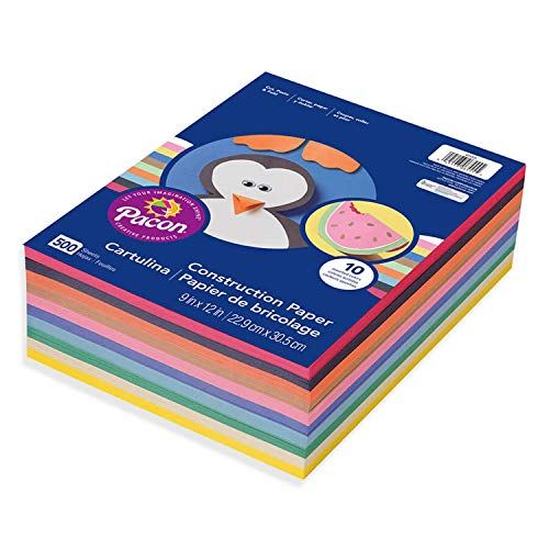 Construction Paper, 10 Assorted Colors, 500 Sheets