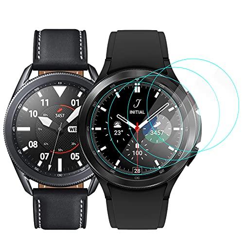CAVN 4-Stücke Kompatibel mit Samsung Galaxy Watch 3 45mm /Galaxy Watch 4 Classic 46mm Schutzfolie Panzerglas, Wasserdichtes Glas Schutz Bildschirmschutzfolie Anti-Kratzen Bildschirmschutz Panzerfolie