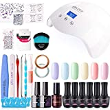 Gellen Gel Nail Polish Kit with UV/LED Nail Lamp - Sweet Candy 6 Colors Nail Gel Starter Kit, With Manicure Pedicure Tools DIY Nail Art Decorations Rhinestones Set