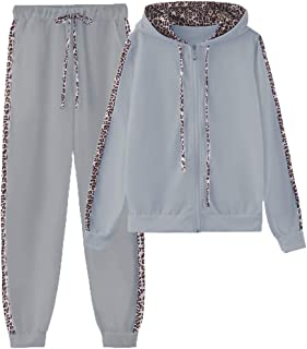 amropi Mujer Leopardo Conjunto de Ropa Chandal con Capucha Tops y Pantalones Deportivos Señoras 2 Piezas Set