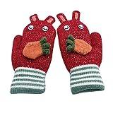 YXIU Kinder Handschuhe Winter Fäustlinge Fausthandschuhe Weihnachtshandschuhe Outdoor Warm Strickhandschuh für 2-5 Jahre alt Baby (Rot)