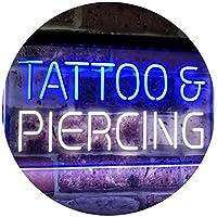 Tattoo Piercing Get Inked Shop Open Dual Color LED看板 ネオンプレート サイン 標識 白色 + 青色 600 x 400mm st6s64-i2484-wb