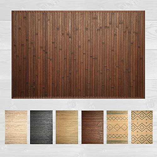 LucaHome – Alfombra bambú Uganda Ideal para Interior o Exterior, Alfombra bambú para Cocina, salón, despacho, Dormitorio con Cenefa, Alfombra de bambú Antideslizante (Chocolate, 60x90cm)