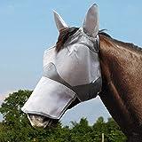 Harrison Howard Maskology - Máscara de nariz larga con orejas de malla ultra duradera con protección UV para caballo