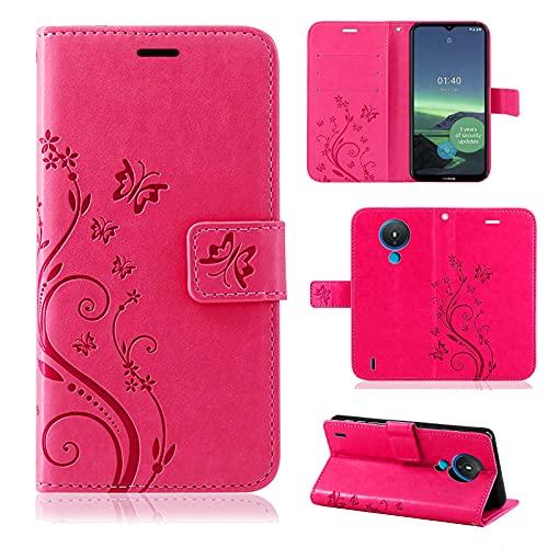 betterfon Hülle für Nokia 1.4 - Handyhülle Nokia 1.4 Flip Hülle Klapphülle Schutzhülle mit [Standfunktion] [Kartenfächern] Kompatibel für Nokia 1.4 Pink