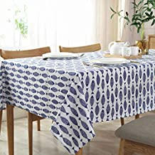 HOOBUY Printed Tablecloth Cotton Linen Spillproof Table Cover Washable for Kitchen Dining Room Party Home Restaurant, Picn...