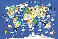 lfeey 7x 5ft Cartoon Kidsマップ写真バックドロップフラットWorld Globe学校教育の動物地球の地理Continent写真背景スタジオ小道具