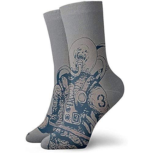 Kevin-Shop Heren Jurk Sokken Schedel Astronaut Het houden van een Bijl Winter Warm Dik Gedrukt Casual Gezellige Crew Sokken