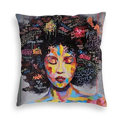 U/k Funda de almohada decorativa de pintura abstracta africana americana, suave, funda de cojín cuadrada para sofá, coche, cama, 55,88 x 55,88 cm