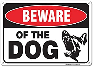 "Bestauseller Beware of Dog Sign by SigoSigns Large 7""X10"" Inch Aluminum Warning Dog Sign USA Made of Rust Free Aluminum UV Printed with Professional Graphics Easy to Mount Indoors & Outdoors"
