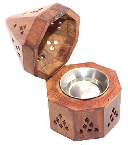 Govinda - 5 Inch Temple Wooden Charcoal/Cone Burner