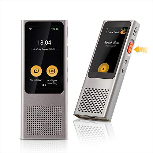 Langogo Minutes Two-Way WiFi Voice Translator Device, Digital Voice Recorder and Dictation Machine with Speech-to-Text Transcription, 100+ Languages, 2.45 Inch Touch Screen, Grey