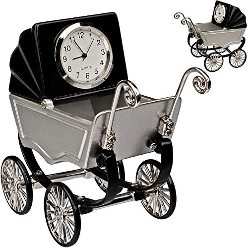 alles-meine.de GmbH kleine - Tischuhr / Miniatur - Uhr - Baby Kinderwagen - aus Metall - 9 cm - batteriebetrieben - Analog - Batterie - schwarz - Zahlen Stehuhr / Standuhr - Wohn..
