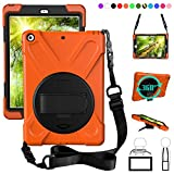 ZenRich New iPad 9.7 2017 2018 Case,360 Degree Rotatable with Kickstand,Hand Strap and Shoulder Strap case, 3 Layer Hybrid Heavy Duty Shockproof case for iPad 9.7 5th/6th Generation (Orange)