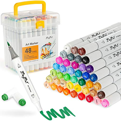 MayMoi 48 Colors Alcohol Art Markers, Brush & Chisel Dual Tips, Permanent Alcohol Based Markers Set for Painting, Coloring, Sketching and Drawing (Includes Blender & Carrying Case)