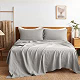 Bedsure Linen Sheets Set Queen Size - 100% Linen Bed Sheets Deep Pocket Sheets, Breathable Bedding Set, Washed French Linen Sheet ( Grey, 90'x102' )