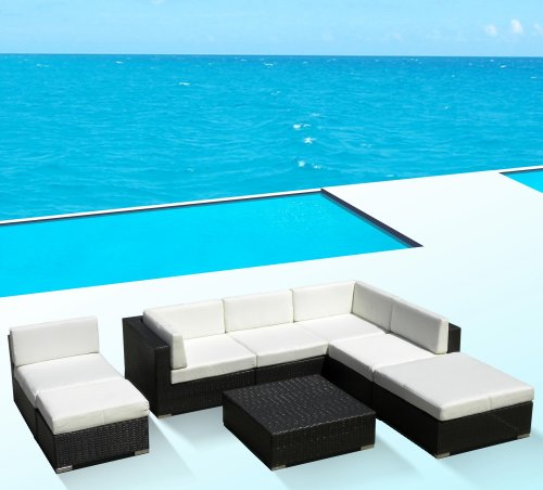 Hot Sale Outdoor Patio Sofa Sectional Wicker Furniture 8pc Resin Couch Set