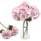 CattleyaHQ 4 teste di fiori di ortensia artificiali, Elegante bouquet di ortensie,Decorazione di fiori finti per feste / matrimoni / casa / cucina (Rosa)