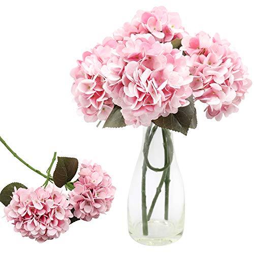 CattleyaHQ 4 Cabezas de Flores Artificiales de Hortensia, Elegante Ramo de hortensias, decoración de Flores Falsas para Fiesta / Boda / hogar / Cocina (Rosado)