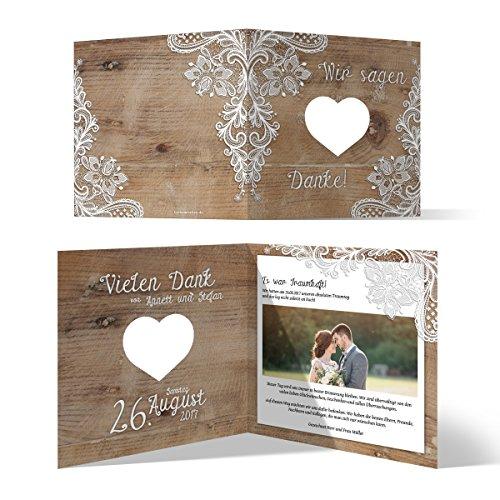 Lasergeschnittene Hochzeit Danksagungskarten (40 Stück) - Rustikal mit weißer Spitze - Dankeskarten