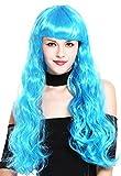 WIG ME UP - 91571-ZA40 Parrucca Donna Carnevale Molto Lunga Ondulata Frangetta Blu Popstar