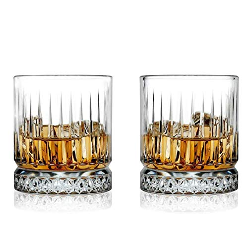 Whiskey Glasses, Crystal Clear Geo Design Whisky Tumblers Perfect for Scotch, Bourbon Gin & Tonic, Cocktails, 2Pcs