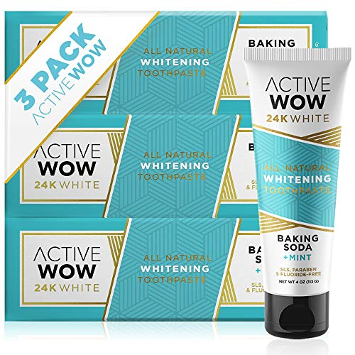 Active Wow - Natural Teeth Whitening Toothpaste Bundle - Sodium Bicarbonate + Coconut Oil + Mint (3 pack)