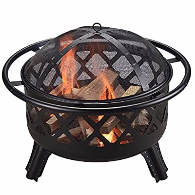 "Peaktop CU296 Round Steel Charcoal Wood Burning Fire Pit Bonfire with Spark Screen and Fireplace Poker for Outdoor Patio Garden Backyard Decking, 30.0"", Black"