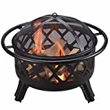 CU296 Outdoor Round Steel Wood Burning Fire Pit, Black, 75 x 75 x